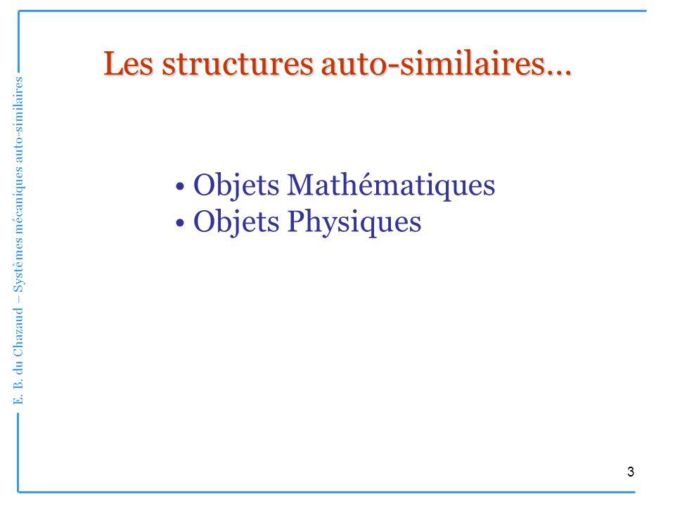 E. B. du Chazaud – Systèmes mécaniques auto-similaires 3 Les structures auto-similaires… Objets Mathématiques Objets Physiques