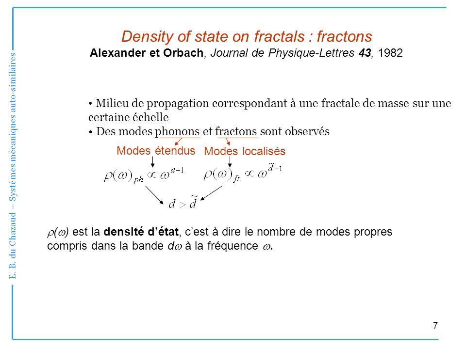 E. B. du Chazaud – Systèmes mécaniques auto-similaires 7 Density of state on fractals : fractons Alexander et Orbach, Journal de Physique-Lettres 43,