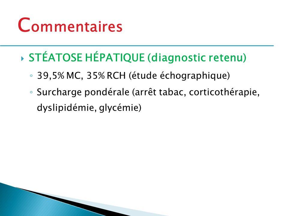 STÉATOSE HÉPATIQUE (diagnostic retenu) 39,5% MC, 35% RCH (étude échographique) Surcharge pondérale (arrêt tabac, corticothérapie, dyslipidémie, glycém