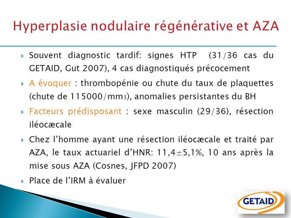 Souvent diagnostic tardif: signes HTP (31/36 cas du GETAID, Gut 2007), 4 cas diagnostiqués précocement A évoquer : thrombopénie ou chute du taux de pl