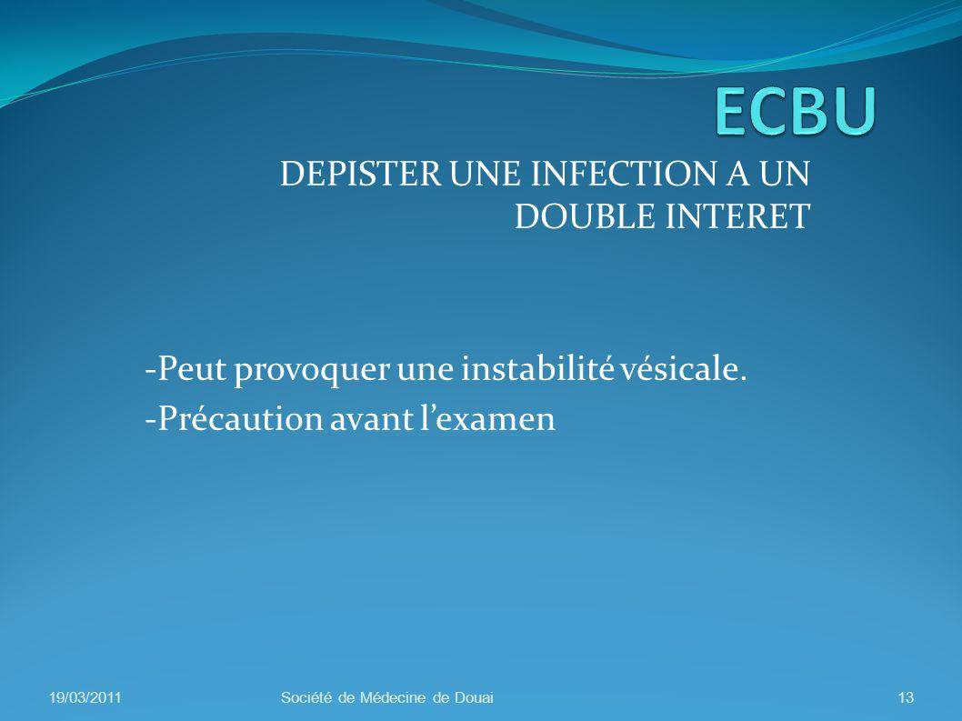 DEPISTER UNE INFECTION A UN DOUBLE INTERET -Peut provoquer une instabilité vésicale. -Précaution avant lexamen 19/03/201113Société de Médecine de Doua