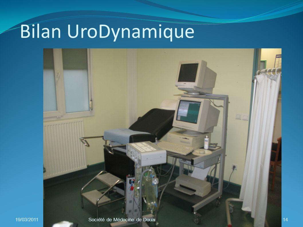 Bilan UroDynamique 19/03/201114Société de Médecine de Douai