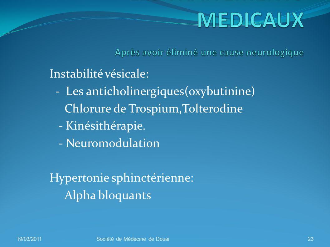 Instabilité vésicale: - Les anticholinergiques(oxybutinine) Chlorure de Trospium,Tolterodine - Kinésithérapie. - Neuromodulation Hypertonie sphinctéri