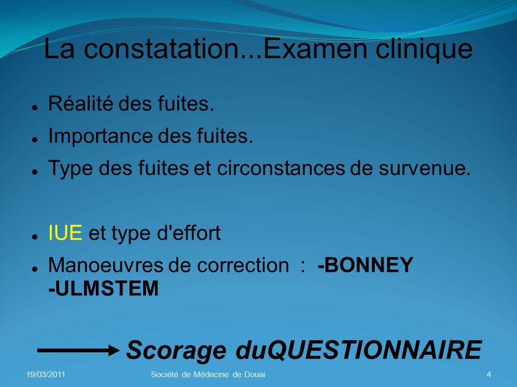 Examen clinique:signes associés Prolapsus vésical Prolapsus utérin Périnée postérieur Rectum et anus Vulve 19/03/20115Société de Médecine de Douai