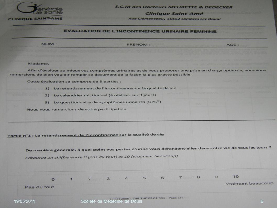 DYSURIE 19/03/201117Société de Médecine de Douai