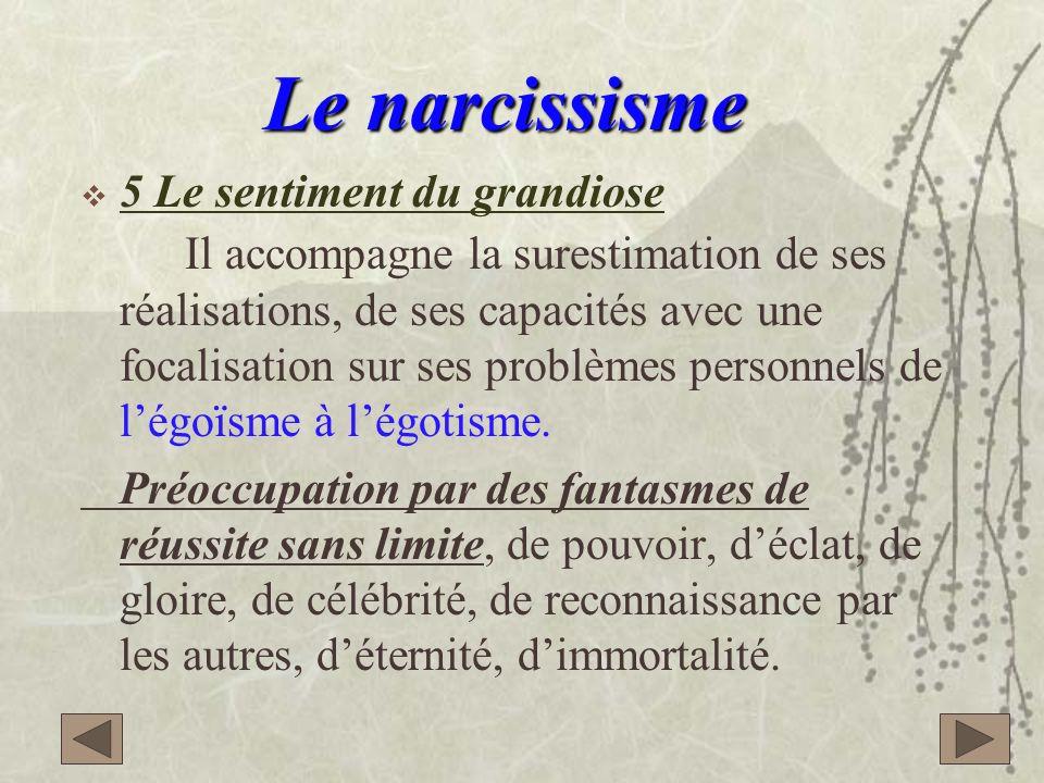4 4 En général le narcissique est bien adapté à la vie sociale. En cas déchecs, il manifeste volontiers des crises de rage destructrices sectaires.