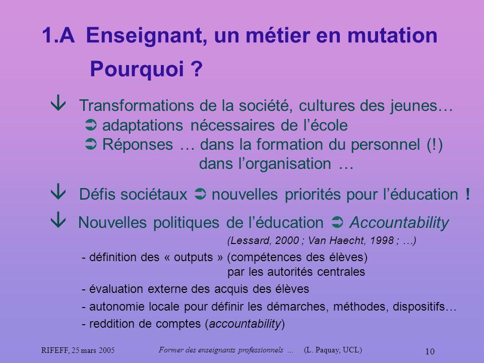 RIFEFF, 25 mars 2005 Former des enseignants professionnels …(L. Paquay, UCL) 10 Défis sociétaux nouvelles priorités pour léducation ! Nouvelles politi