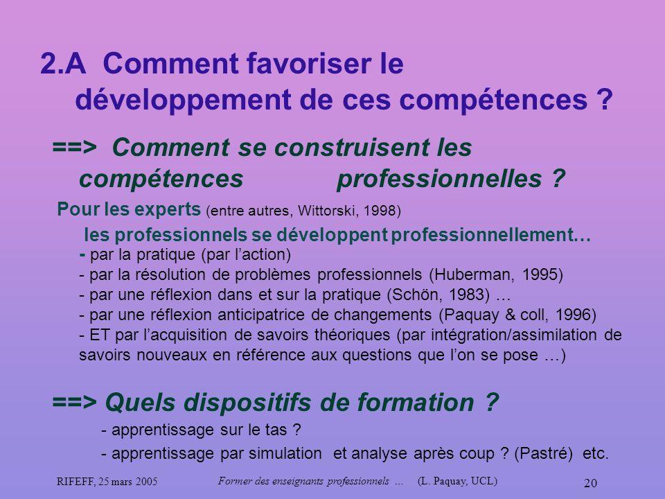 RIFEFF, 25 mars 2005 Former des enseignants professionnels …(L. Paquay, UCL) 20 2.A Comment favoriser le développement de ces compétences ? ==> Commen