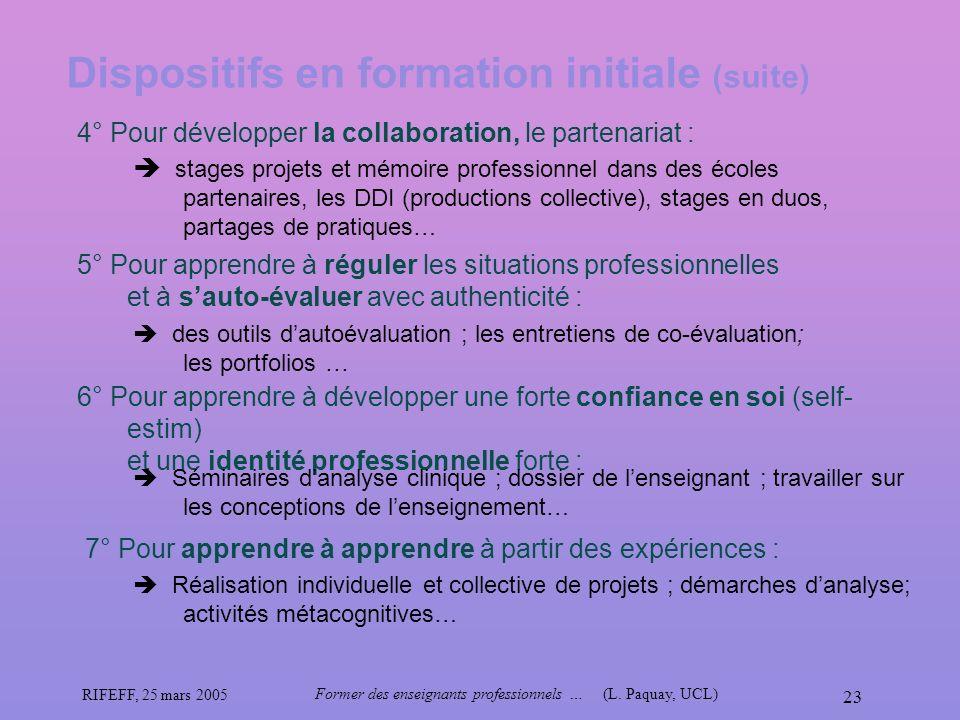 RIFEFF, 25 mars 2005 Former des enseignants professionnels …(L. Paquay, UCL) 23 Dispositifs en formation initiale (suite) 4° Pour développer la collab