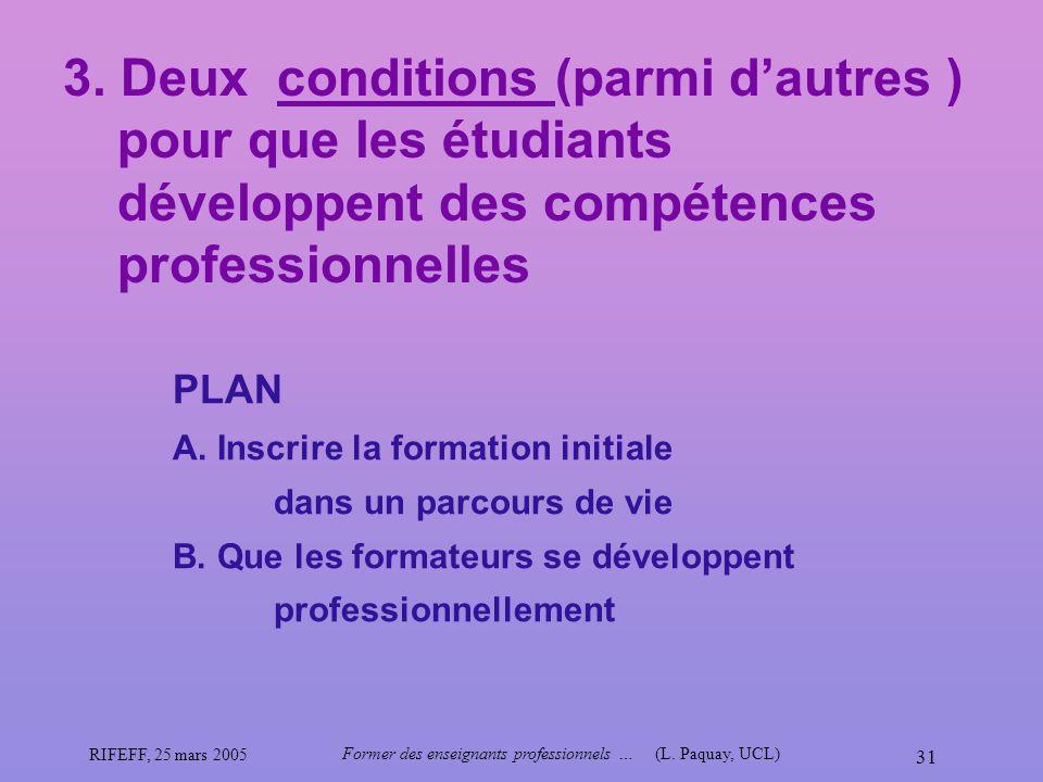 RIFEFF, 25 mars 2005 Former des enseignants professionnels …(L. Paquay, UCL) 31 3. Deux conditions (parmi dautres ) pour que les étudiants développent