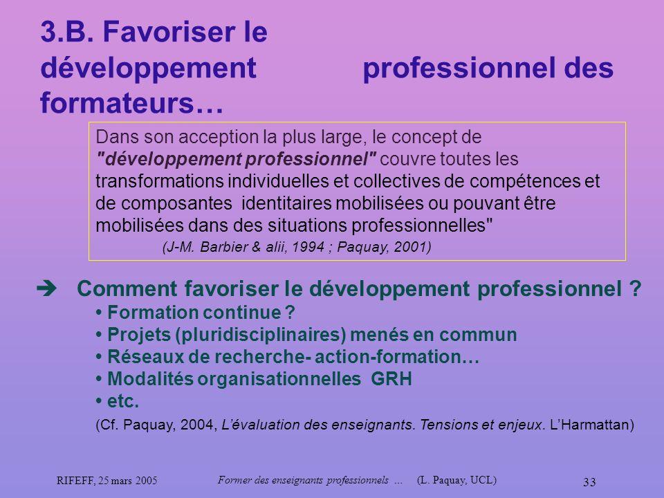 RIFEFF, 25 mars 2005 Former des enseignants professionnels …(L. Paquay, UCL) 33 3.B. Favoriser le développement professionnel des formateurs… Comment