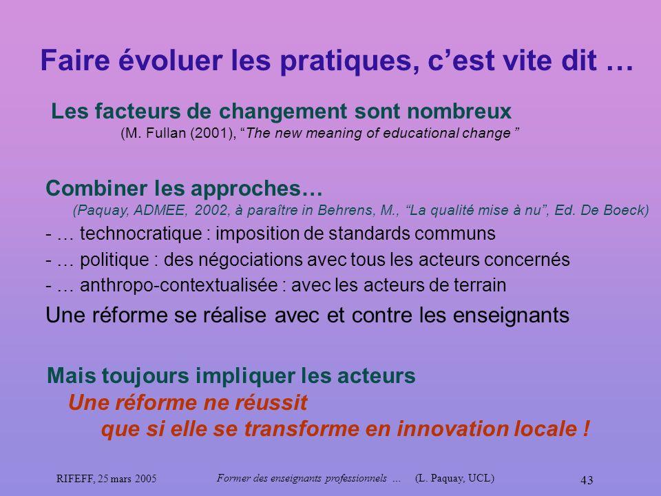 RIFEFF, 25 mars 2005 Former des enseignants professionnels …(L. Paquay, UCL) 43 Faire évoluer les pratiques, cest vite dit … Les facteurs de changemen