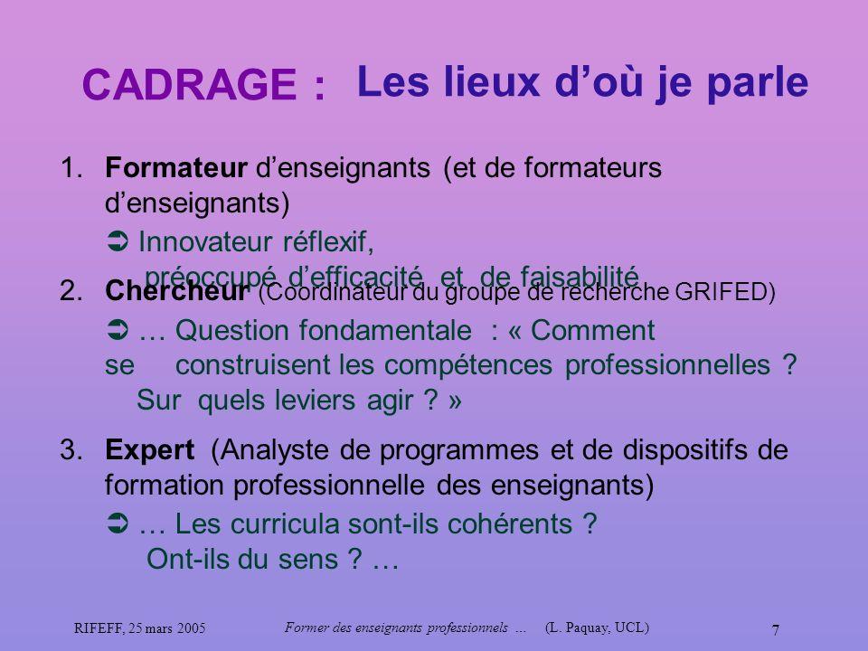 RIFEFF, 25 mars 2005 Former des enseignants professionnels …(L. Paquay, UCL) 7 CADRAGE : Les lieux doù je parle 1. Formateur denseignants (et de forma