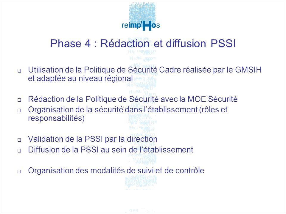 5 février 2009Journée Technique13 Phase 4 : Rédaction et diffusion PSSI Utilisation de la Politique de Sécurité Cadre réalisée par le GMSIH et adaptée