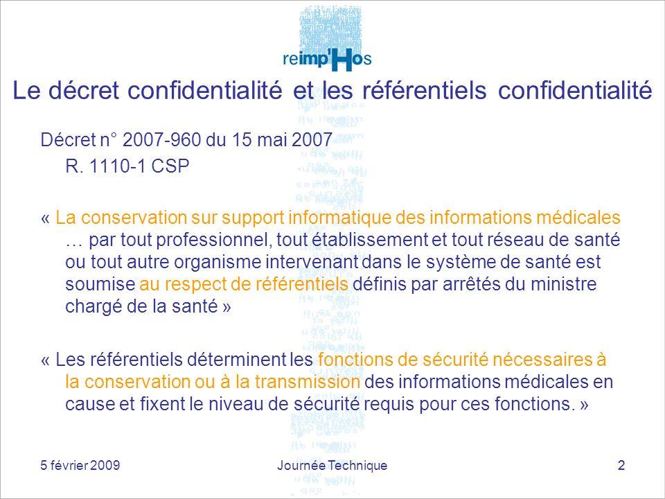 5 février 2009Journée Technique22 Décret n° 2007-960 du 15 mai 2007 R. 1110-1 CSP « La conservation sur support informatique des informations médicale