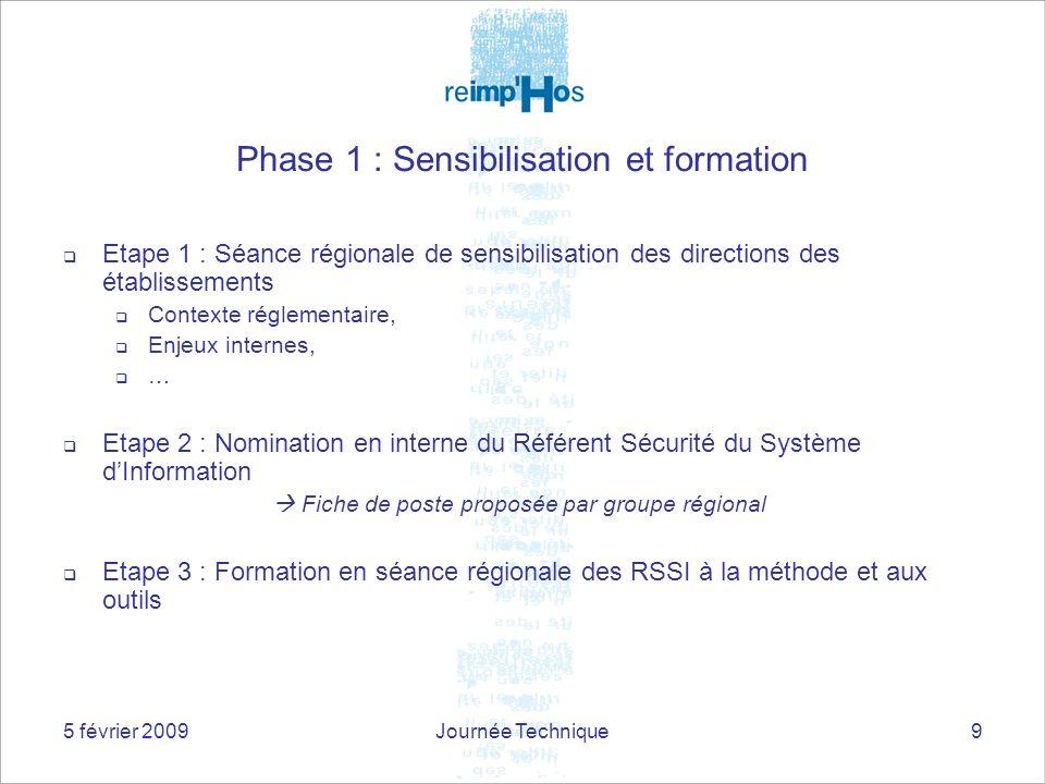 5 février 2009Journée Technique9 Phase 1 : Sensibilisation et formation Etape 1 : Séance régionale de sensibilisation des directions des établissement