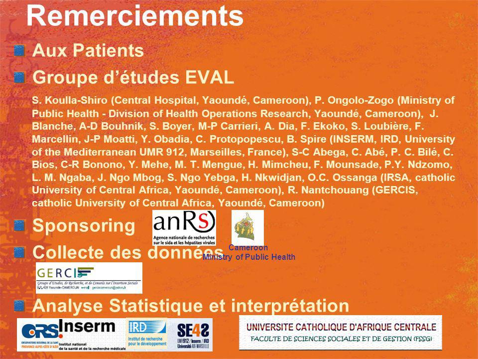 Remerciements Aux Patients Groupe détudes EVAL S. Koulla-Shiro (Central Hospital, Yaoundé, Cameroon), P. Ongolo-Zogo (Ministry of Public Health - Divi