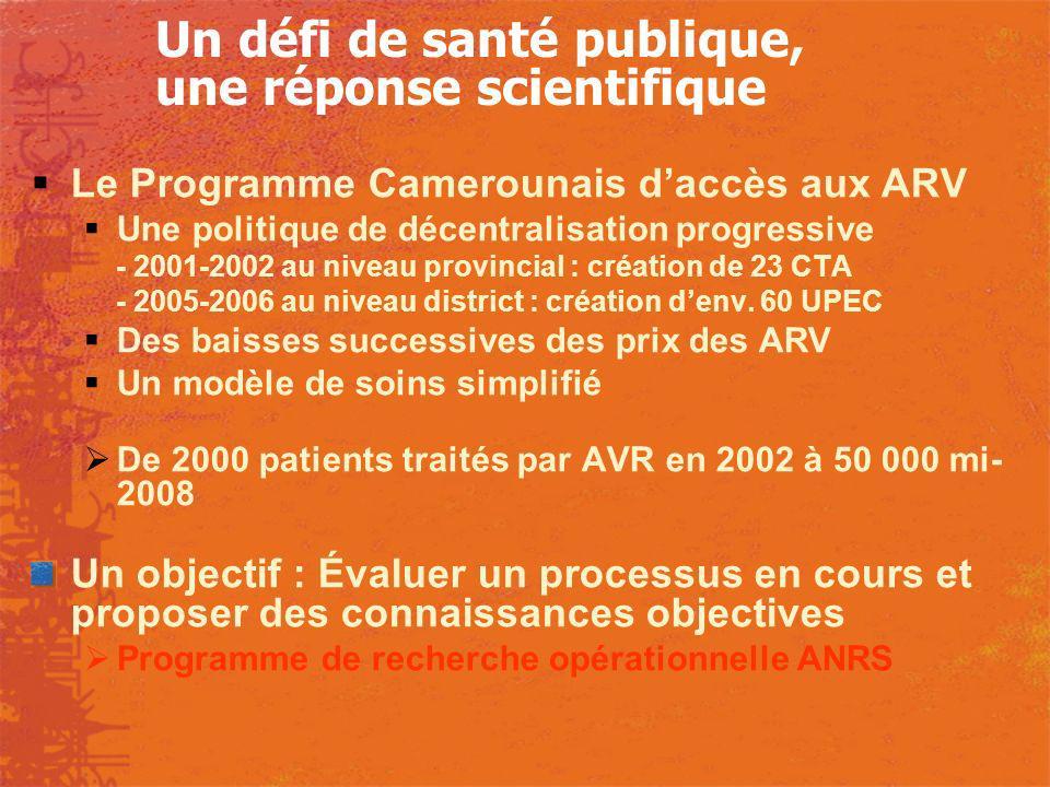 Un défi de santé publique, une réponse scientifique Le Programme Camerounais daccès aux ARV Une politique de décentralisation progressive - 2001-2002