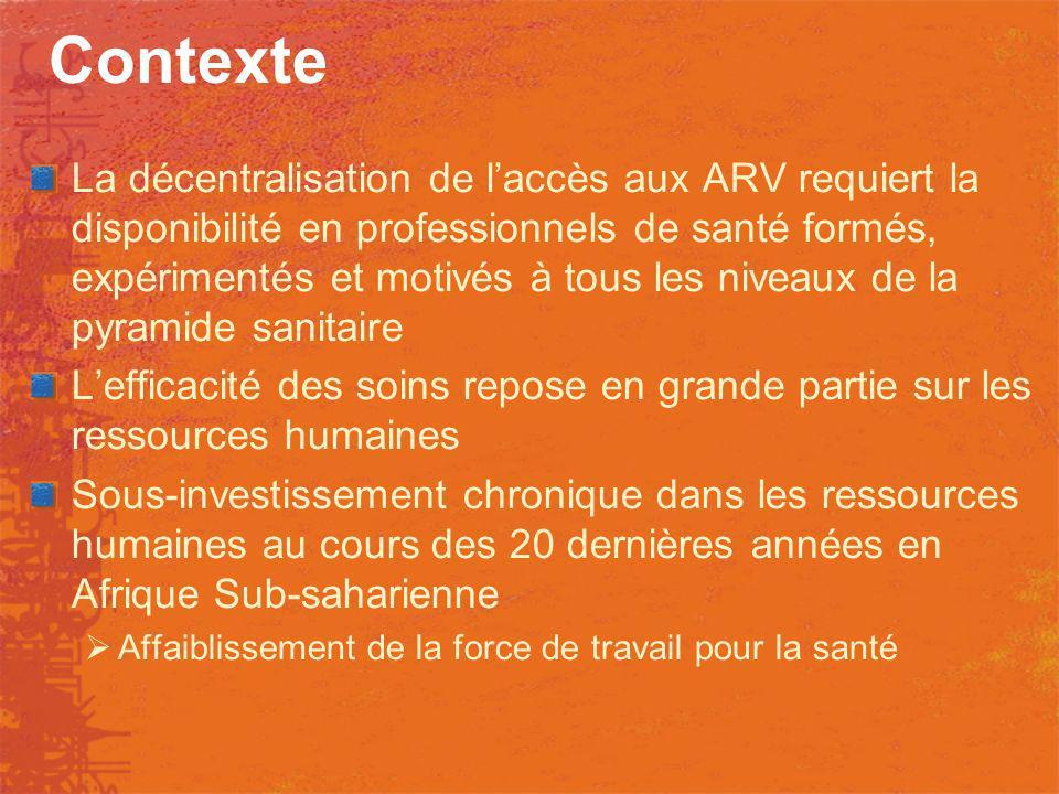 Contexte La décentralisation de laccès aux ARV requiert la disponibilité en professionnels de santé formés, expérimentés et motivés à tous les niveaux