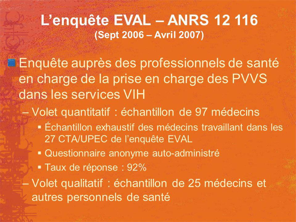 Enquête auprès des professionnels de santé en charge de la prise en charge des PVVS dans les services VIH –Volet quantitatif : échantillon de 97 médec