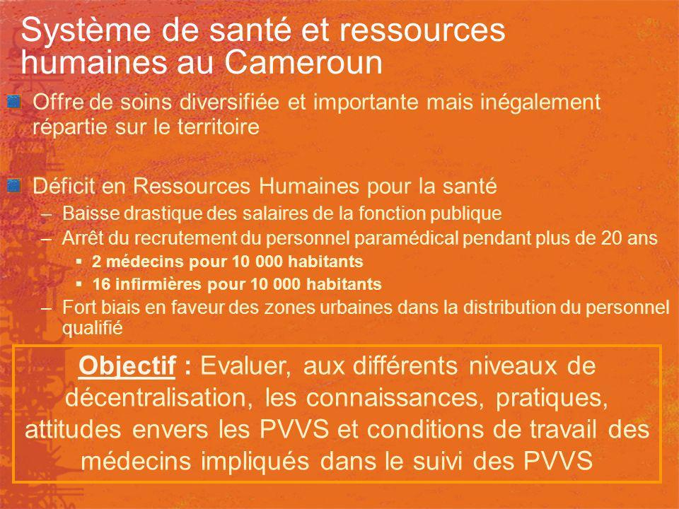 Système de santé et ressources humaines au Cameroun Offre de soins diversifiée et importante mais inégalement répartie sur le territoire Déficit en Re