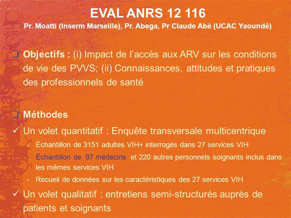 EVAL ANRS 12 116 Pr. Moatti (Inserm Marseille), Pr. Abega, Pr Claude Abé (UCAC Yaoundé) Objectifs : (i) Impact de laccès aux ARV sur les conditions de