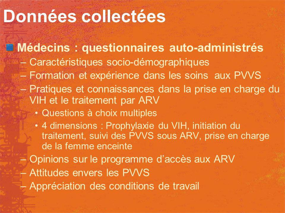 Données collectées Médecins : questionnaires auto-administrés –Caractéristiques socio-démographiques –Formation et expérience dans les soins aux PVVS