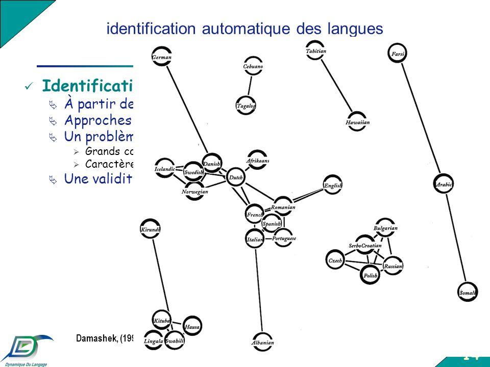 14 identification automatique des langues a partir de donnees textuelles Identification automatique des langues À partir de corpus textuels (journaux,