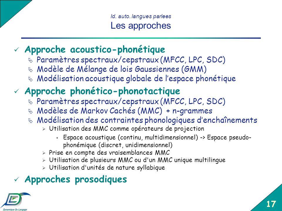 17 Id. auto. langues parlees Les approches Approche acoustico-phonétique Paramètres spectraux/cepstraux (MFCC, LPC, SDC) Modèle de Mélange de lois Gau