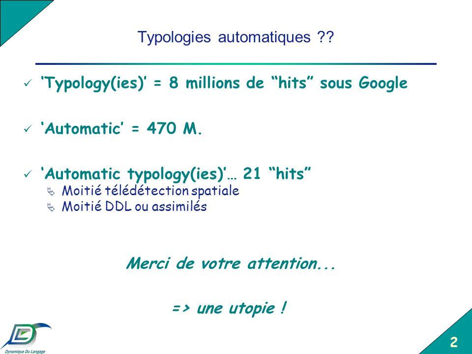 2 Typologies automatiques ?? Typology(ies) = 8 millions de hits sous Google Automatic = 470 M. Automatic typology(ies)… 21 hits Moitié télédétection s
