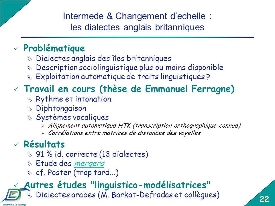 22 Intermede & Changement dechelle : les dialectes anglais britanniques Problématique Dialectes anglais des îles britanniques Description sociolinguis