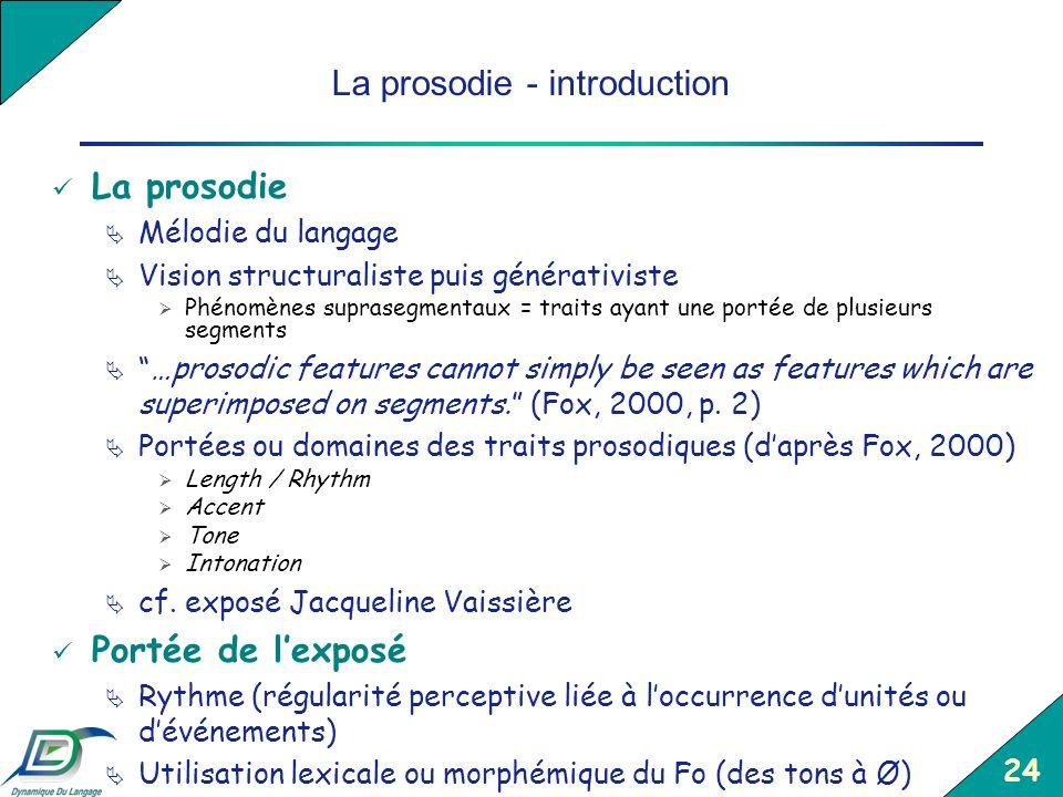 24 La prosodie - introduction La prosodie Mélodie du langage Vision structuraliste puis générativiste Phénomènes suprasegmentaux = traits ayant une po