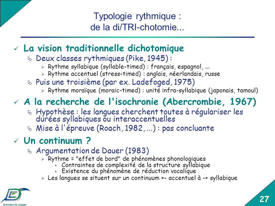 27 Typologie rythmique : de la di/TRI-chotomie... La vision traditionnelle dichotomique Deux classes rythmiques (Pike, 1945) : Rythme syllabique (syll