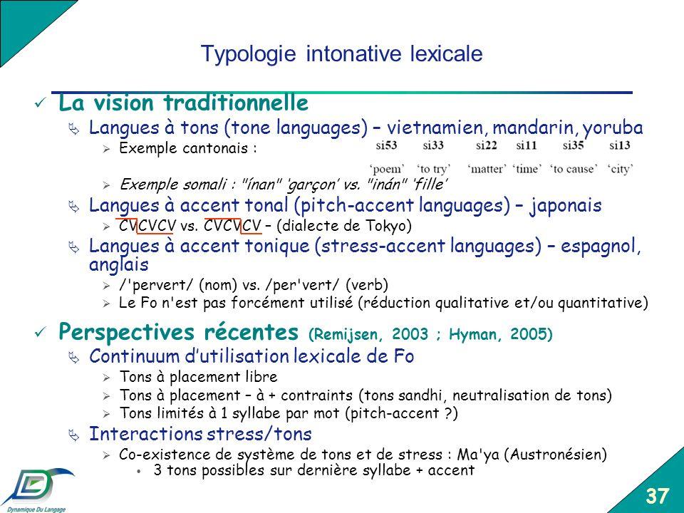 37 Typologie intonative lexicale La vision traditionnelle Langues à tons (tone languages) – vietnamien, mandarin, yoruba Exemple cantonais : Exemple s