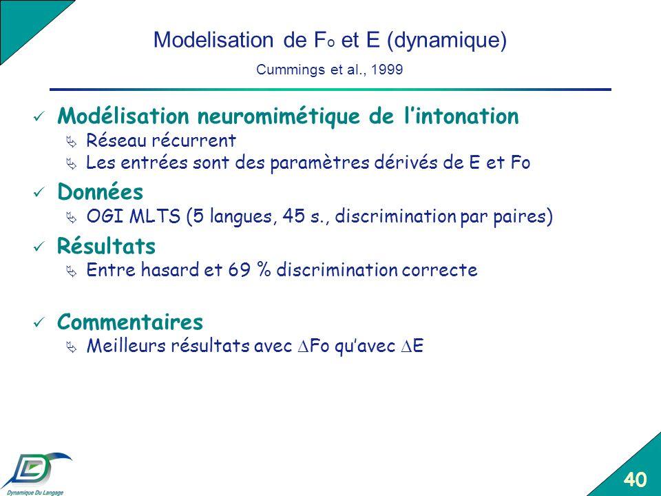 40 Modelisation de F o et E (dynamique) Cummings et al., 1999 Modélisation neuromimétique de lintonation Réseau récurrent Les entrées sont des paramèt