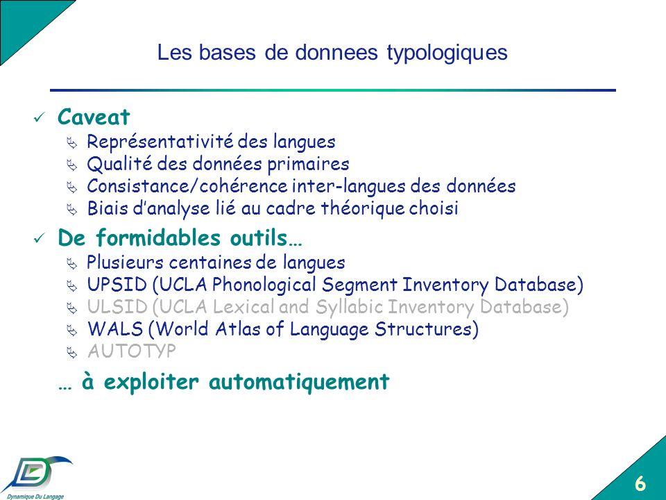 6 Les bases de donnees typologiques Caveat Représentativité des langues Qualité des données primaires Consistance/cohérence inter-langues des données