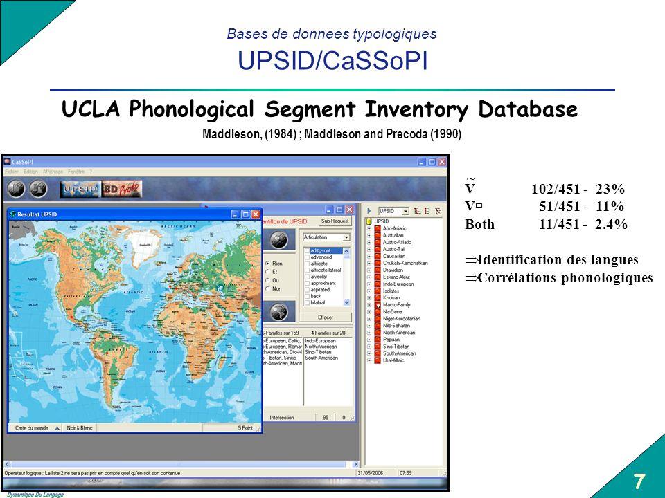 8 Bases de donnees typologiques UPSID/CaSSoPI Utilisation pour rechercher des indices pertinents Hombert & Maddieson, (1998) Indices discriminants et détectables automatiquement Contraste dental vs.