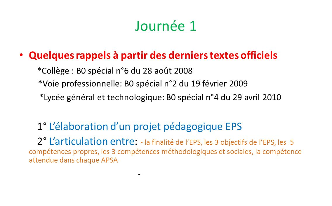 Journée 1 Quelques rappels à partir des derniers textes officiels *Collège : B0 spécial n°6 du 28 août 2008 *Voie professionnelle: B0 spécial n°2 du 1
