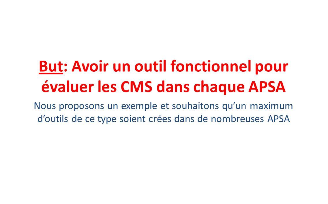 But: Avoir un outil fonctionnel pour évaluer les CMS dans chaque APSA Nous proposons un exemple et souhaitons quun maximum doutils de ce type soient c
