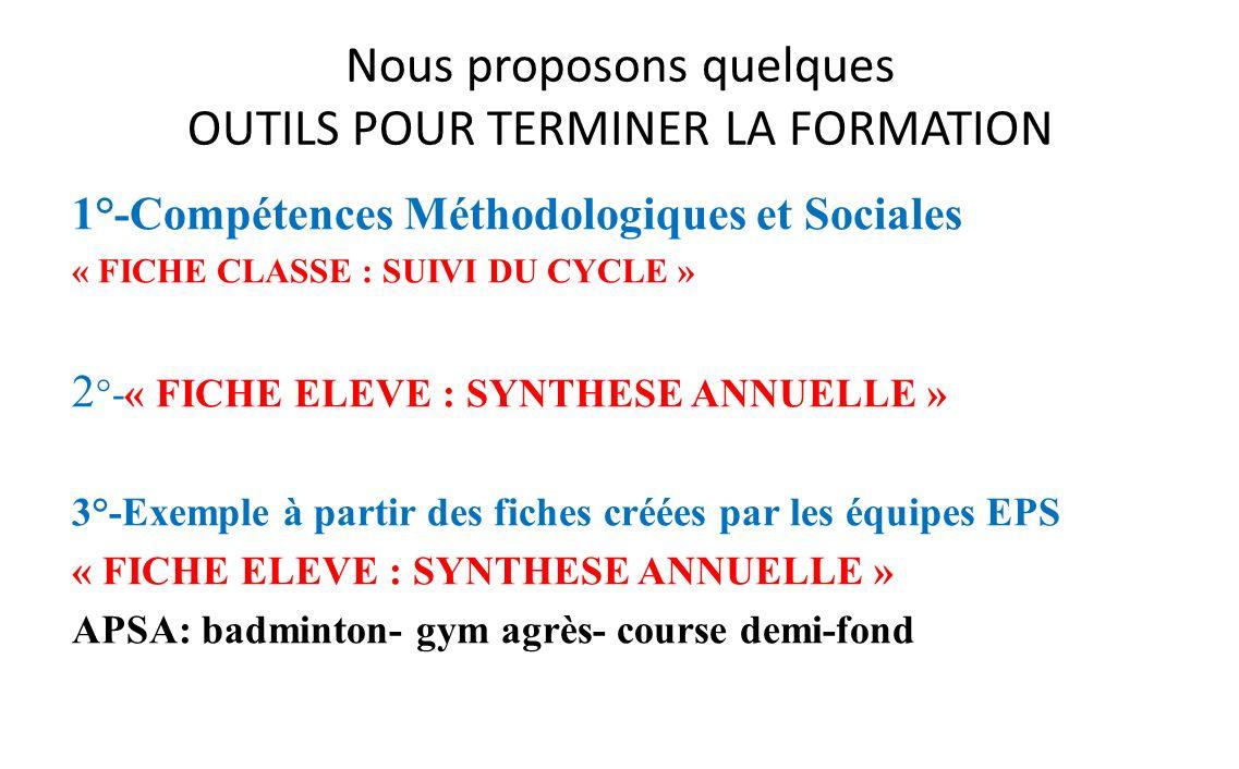 Nous proposons quelques OUTILS POUR TERMINER LA FORMATION 1°-Compétences Méthodologiques et Sociales « FICHE CLASSE : SUIVI DU CYCLE » 2 °-« FICHE ELE