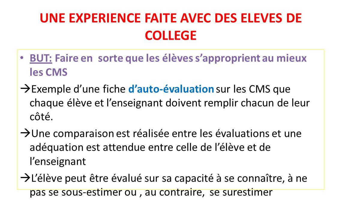 UNE EXPERIENCE FAITE AVEC DES ELEVES DE COLLEGE BUT: Faire en sorte que les élèves sapproprient au mieux les CMS Exemple dune fiche dauto-évaluation s