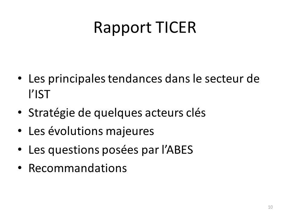 Rapport TICER Les principales tendances dans le secteur de lIST Stratégie de quelques acteurs clés Les évolutions majeures Les questions posées par lA