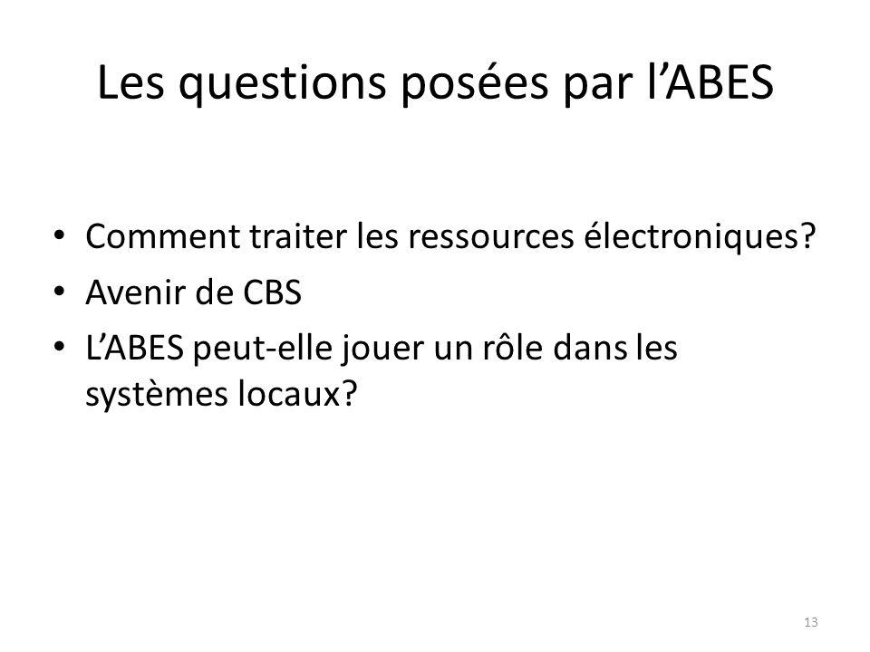 Les questions posées par lABES Comment traiter les ressources électroniques? Avenir de CBS LABES peut-elle jouer un rôle dans les systèmes locaux? 13
