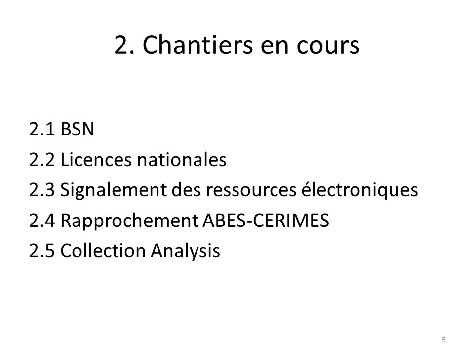 2. Chantiers en cours 2.1 BSN 2.2 Licences nationales 2.3 Signalement des ressources électroniques 2.4 Rapprochement ABES-CERIMES 2.5 Collection Analy
