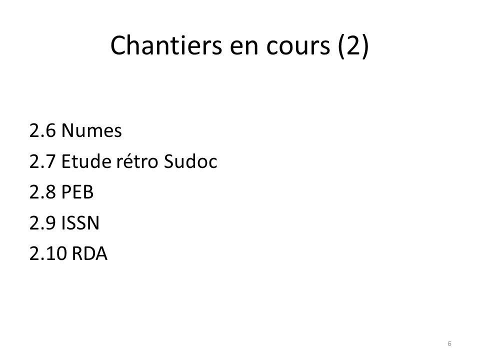 Chantiers en cours (2) 2.6 Numes 2.7 Etude rétro Sudoc 2.8 PEB 2.9 ISSN 2.10 RDA 6