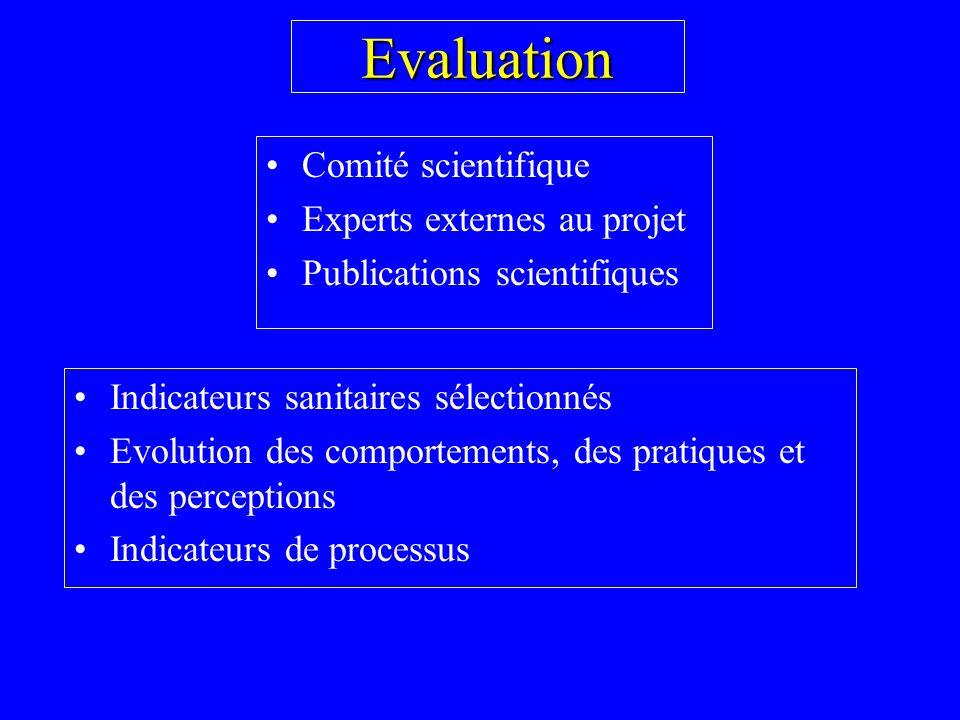 Evaluation Comité scientifique Experts externes au projet Publications scientifiques Indicateurs sanitaires sélectionnés Evolution des comportements, des pratiques et des perceptions Indicateurs de processus