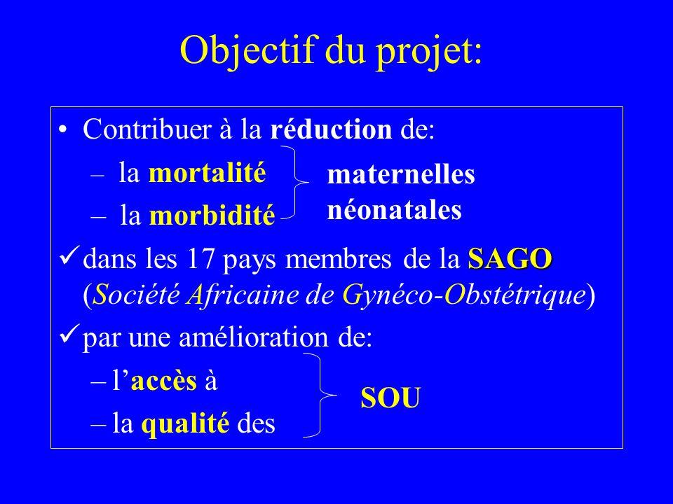 Objectif du projet: Contribuer à la réduction de: – la mortalité – la morbidité SAGO dans les 17 pays membres de la SAGO (Société Africaine de Gynéco-Obstétrique) par une amélioration de: –laccès à –la qualité des SOU maternelles néonatales