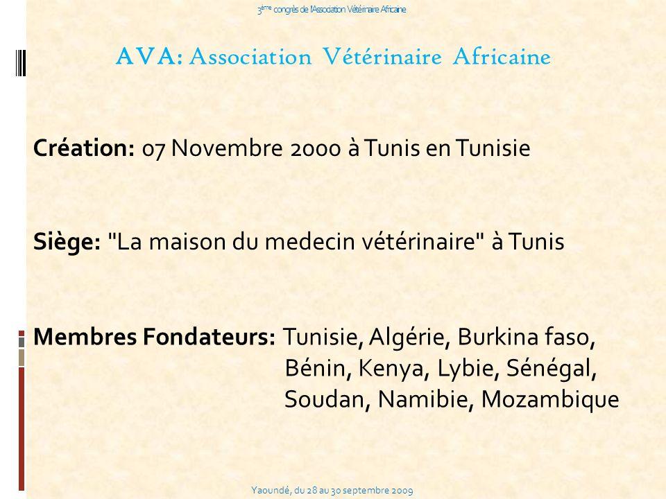 Yaoundé, du 28 au 30 septembre 2009 3 ème congrès de l Association Vétérinaire Africaine AVA: Association Vétérinaire Africaine Création: 07 Novembre 2000 à Tunis en Tunisie Siège: La maison du medecin vétérinaire à Tunis Membres Fondateurs: Tunisie, Algérie, Burkina faso, Bénin, Kenya, Lybie, Sénégal, Soudan, Namibie, Mozambique