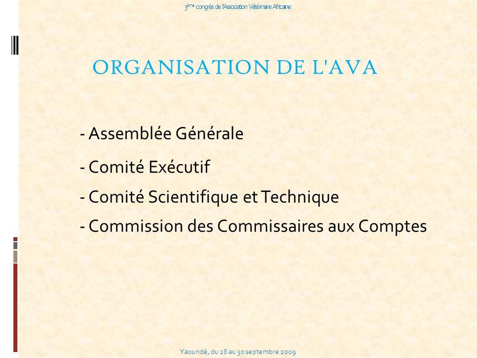 Yaoundé, du 28 au 30 septembre 2009 3 ème congrès de l Association Vétérinaire Africaine ORGANISATION DE L AVA - Assemblée Générale - Comité Exécutif - Comité Scientifique et Technique - Commission des Commissaires aux Comptes