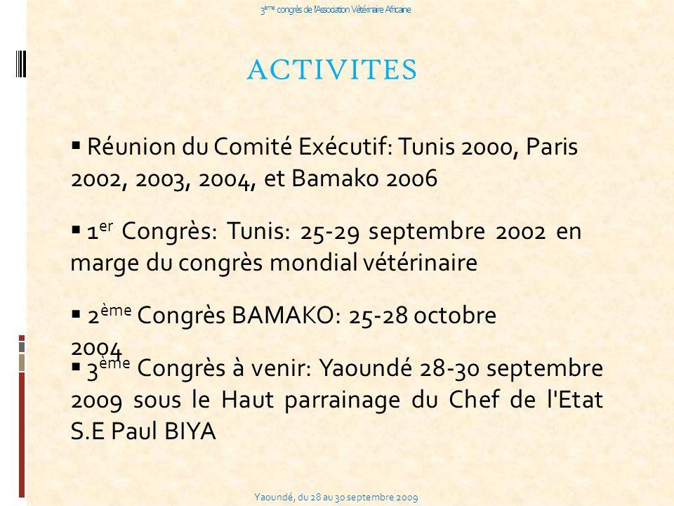 Yaoundé, du 28 au 30 septembre 2009 3 ème congrès de l Association Vétérinaire Africaine ACTIVITES Réunion du Comité Exécutif: Tunis 2000, Paris 2002, 2003, 2004, et Bamako 2006 1 er Congrès: Tunis: 25-29 septembre 2002 en marge du congrès mondial vétérinaire 2 ème Congrès BAMAKO: 25-28 octobre 2004 3 ème Congrès à venir: Yaoundé 28-30 septembre 2009 sous le Haut parrainage du Chef de l Etat S.E Paul BIYA